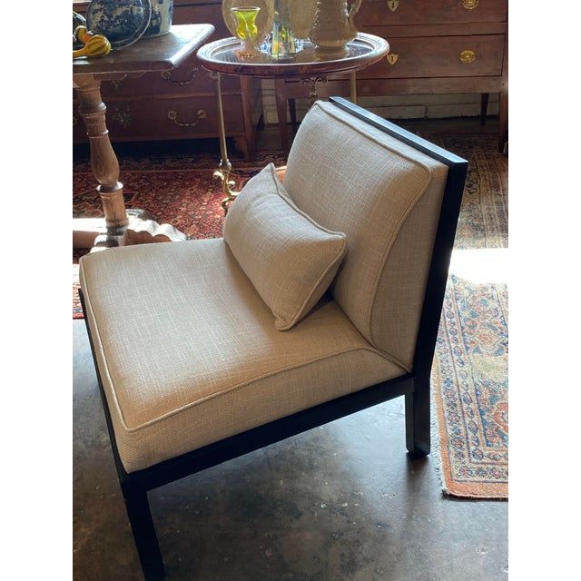 Wood Mid Century Asian Modern Black Slipper Chairs - a Pair For Sale - Image 7 of 11