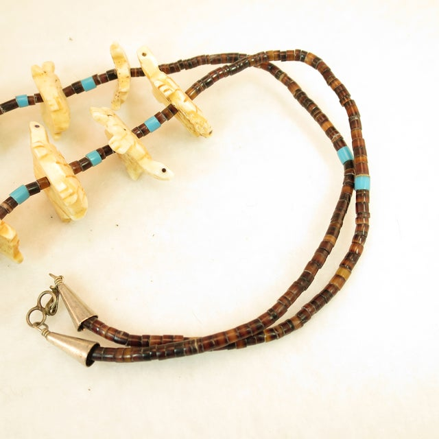 Bone Native American Zuni Hand-Carved Bone Turtle Fetish Necklace 1970s For Sale - Image 7 of 12