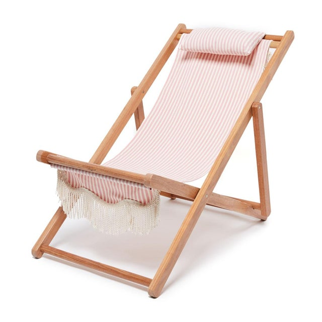 Contemporary Sling Outdoor Chair - Lauren's Pink Stripe with Fringe For Sale - Image 3 of 3