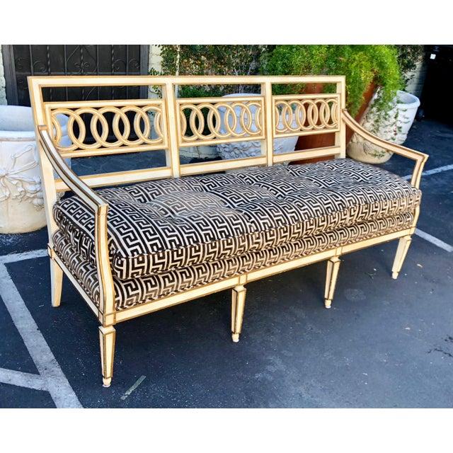 2000s Spectacular Hollywood Regency Style Sofa Settee W Greek Key Cut Velvet For Sale - Image 5 of 7
