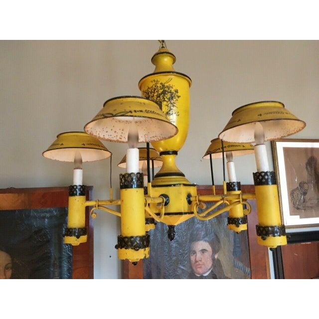 French Country Early 20th Century Regency French Yellow Painted Tole Five Light Chandelier For Sale - Image 3 of 13