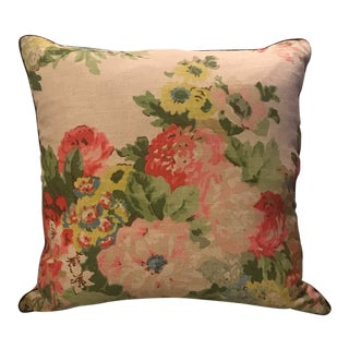 Large Mid Century Floral Linen Pillow