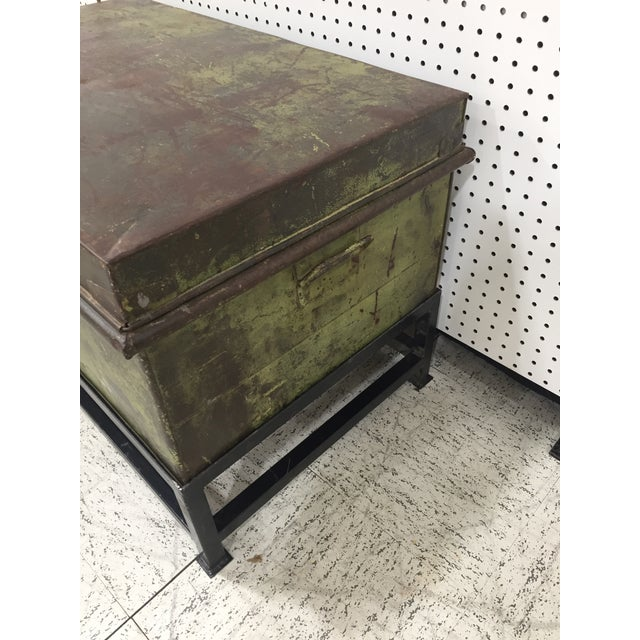English Antique English Military Metal Trunk on Stand For Sale - Image 3 of 7