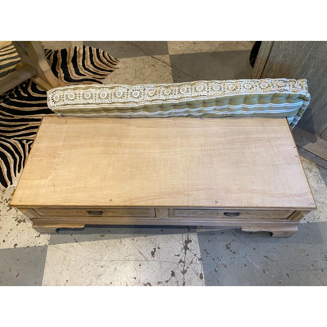 19th Century French Wood Banquette Bench With Cotton Cushion and Storage For Sale - Image 10 of 13