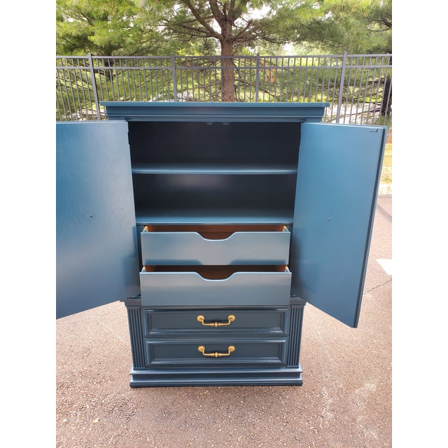 Wood Vintage Moscow Midnight Blue Armoire For Sale - Image 7 of 12