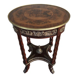 Vintage Louie XV Style Marquetry Inlaid Accent Table For Sale