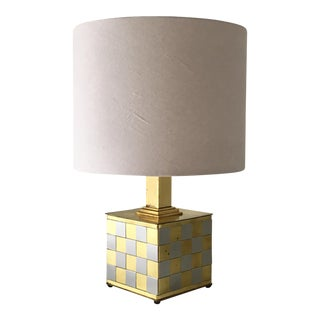 Brass and Chrome Patchwork Detailed Table Lamp 1970s For Sale