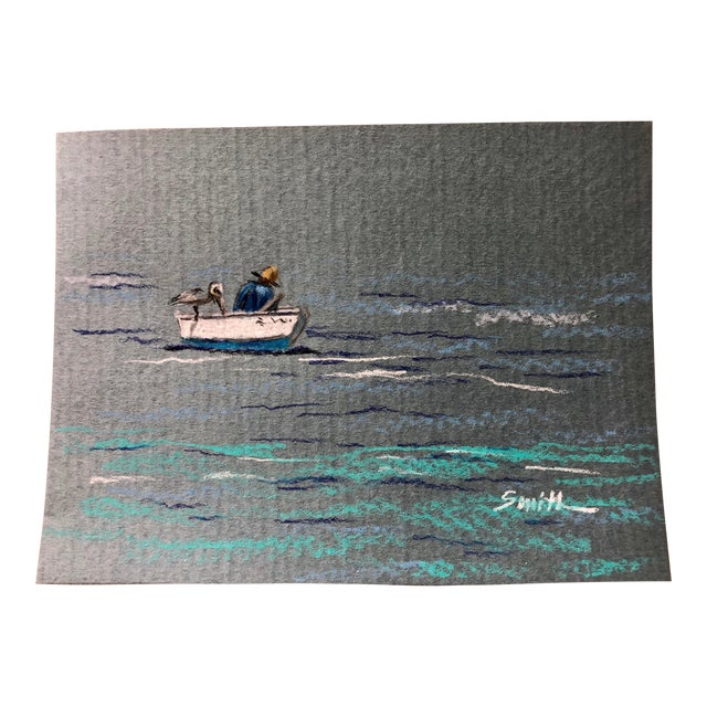 """""""The Fisherman"""" Colored Pencil Drawing For Sale"""