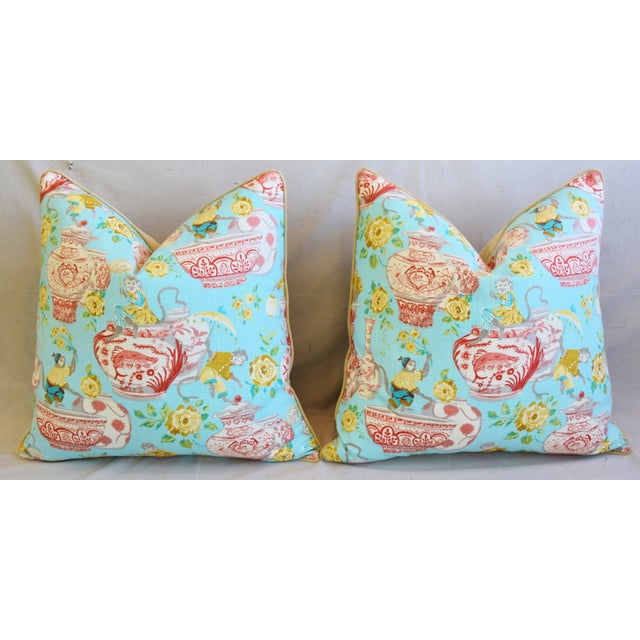 """Aqua Chinoiserie Playful Monkeys & Chinese Vases Feather/Down Pillows 26"""" Square - Pair For Sale In Los Angeles - Image 6 of 13"""