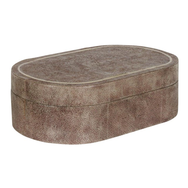 R & Y Augousti Shagreen & Ivory Racetrack Jewelry Box For Sale