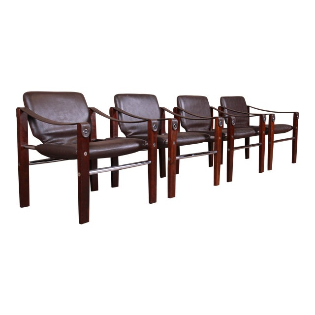 Maurice Burke for Pozza Mahogany and Leather Safari Chairs, Set of Four For Sale