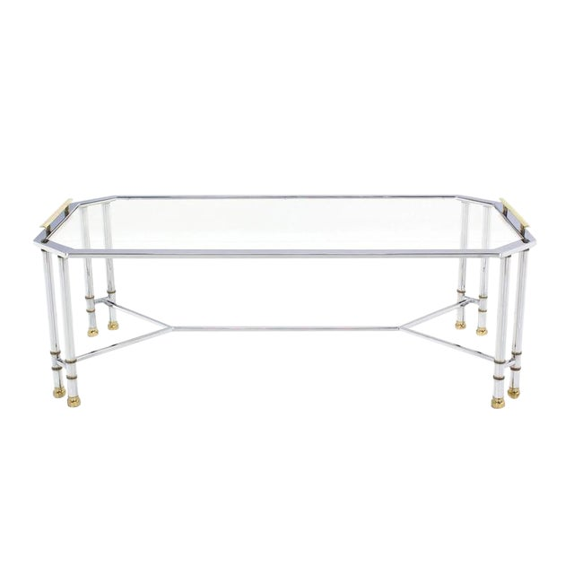 Transparent Mid Century Modern Chrome Brass Glass Rectangular Coffee Table For Sale - Image 8 of 8