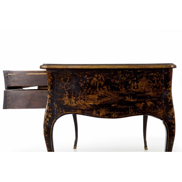 French Provincial 19th Century Louis XV Style Chinoiserie Decorated Bureau Plat Antique Writing Desk For Sale - Image 3 of 13