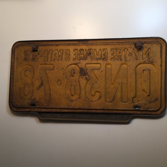 Vintage 1956 New York State License Plate For Sale - Image 4 of 5