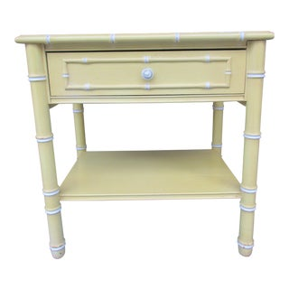 20th Century Boho Chic Thomasville Faux Bamboo Nightstand For Sale