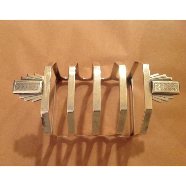 1930s Art Deco Sterling Silver Mappin and Webb Toast Rack For Sale - Image 5 of 7