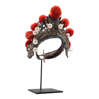 Antique Chinese Theatre Opera Headdress in Turquoise and Coral Colored Pom Poms For Sale