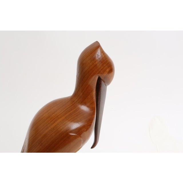 Vintage Teak Carved Wood Pelican For Sale - Image 5 of 8