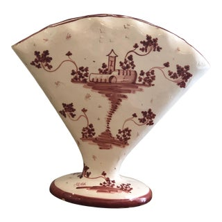 French Country Faience Fan Vase For Sale