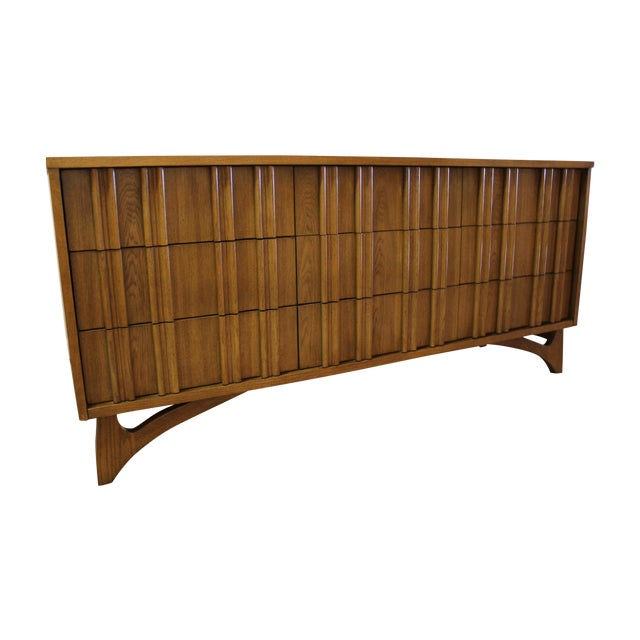 Mid Century Hidden Pull Credenza on Boomerang Legs - Image 1 of 11