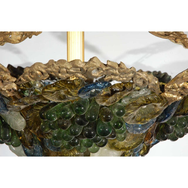 Gold Art Deco Art Glass & Brass Chandelier For Sale - Image 8 of 9
