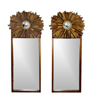Mid-Century Modern Pair of Lane Brutalist Wood Mirrors for Mosaic Line Evans Era