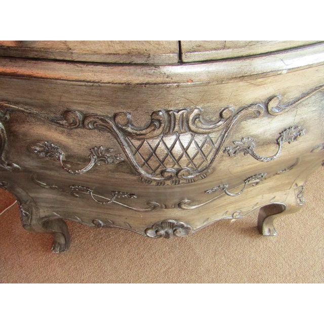 Bombay Style Nightstands, Side Tables in Antiqued Metalic Finish -- A Pair - Image 4 of 6