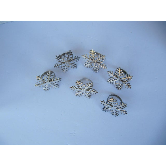 Silverplate Snowflake Napkin Rings - Set of 6 For Sale - Image 6 of 6