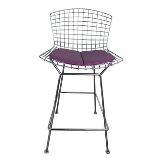 Harry Bertoia for Knoll Magenta Counter Height Bar Stool For Sale