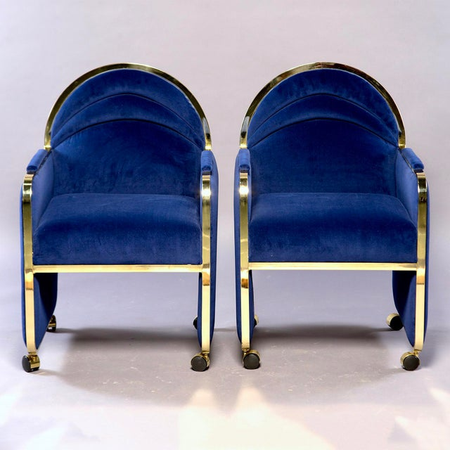 Pair of cube shaped club chairs in manner of Milo Baughman for Design Institute of America, circa late 1970s. Original DIA...