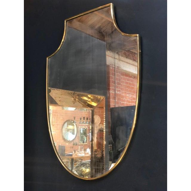 Italian Midcentury Italian Shield Shape Mirror, 1960s For Sale - Image 3 of 5