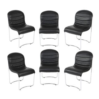 1980s Vintage Chrome and Vinyl Dining Chairs- Set of 6 For Sale