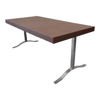 Chrome and Leather Writing Desk by Ironies For Sale