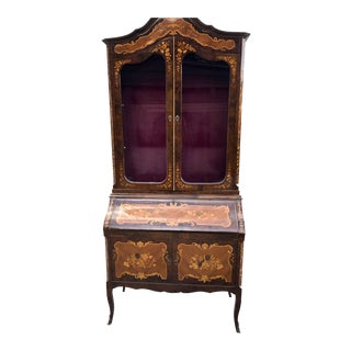 1930s Vintage Italian Marquetry Secretary For Sale