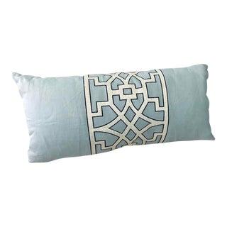 Mary McDonald Light Blue Trellis Lumbar Pillow For Sale