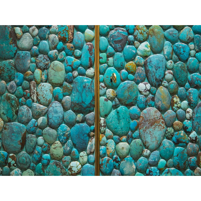 2010s Kam Tin - Turquoise Tall Cabinet Made of Real Turquoise Cabochons, France,2014 For Sale - Image 5 of 9