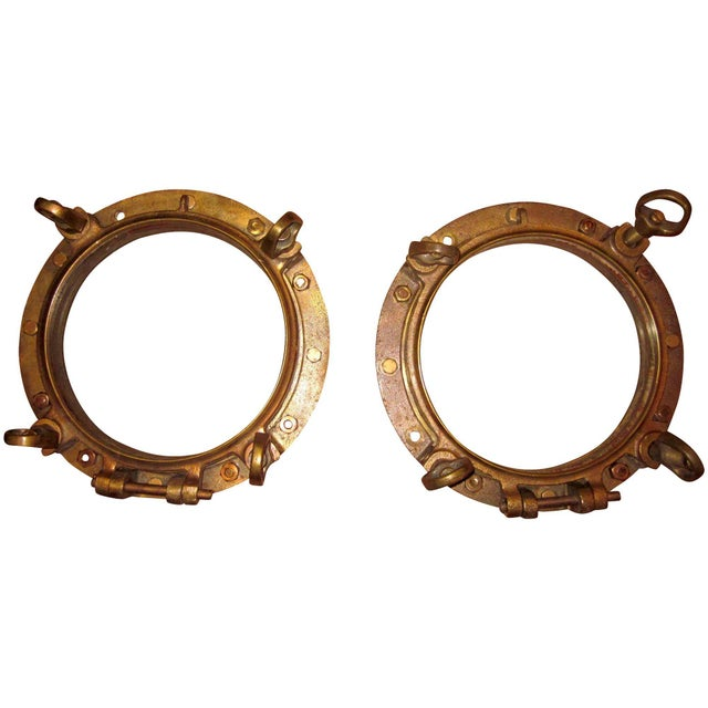 1910s Nautical Brass Maritime Portholes - a Pair For Sale - Image 10 of 10