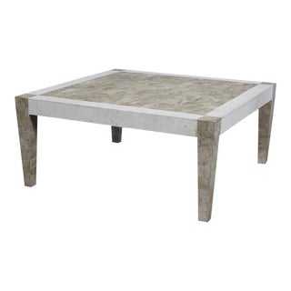 1990s Postmodern Dual Color Tessellated Stone Cube Square Coffee Table For Sale