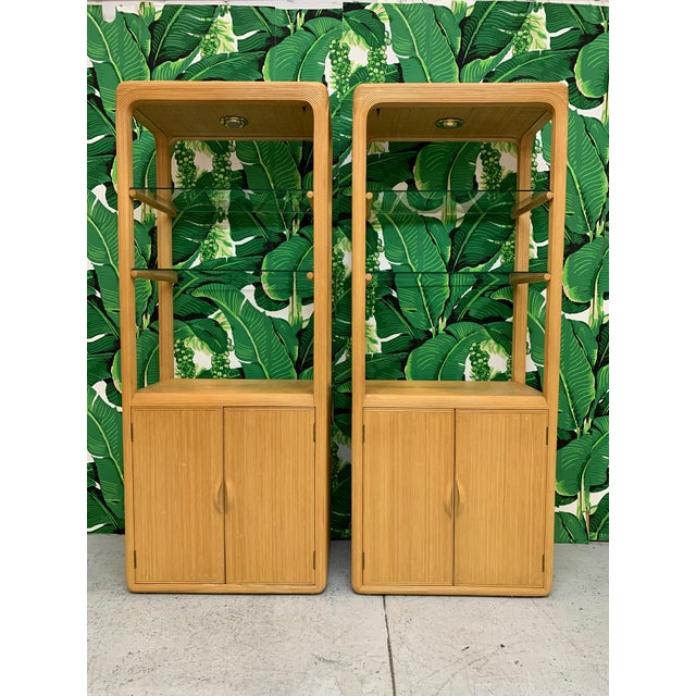 Split Reed Rattan Wall Unit in the Manner of Gabriella Crespi For Sale - Image 11 of 13