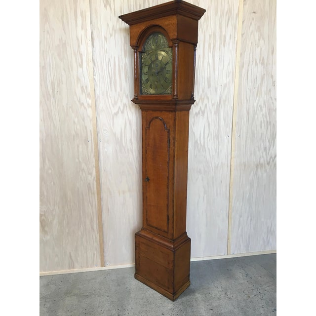 18th century antique 8 day Grand Father clock with second hand and calendar made in England the case is oak with mahogany...