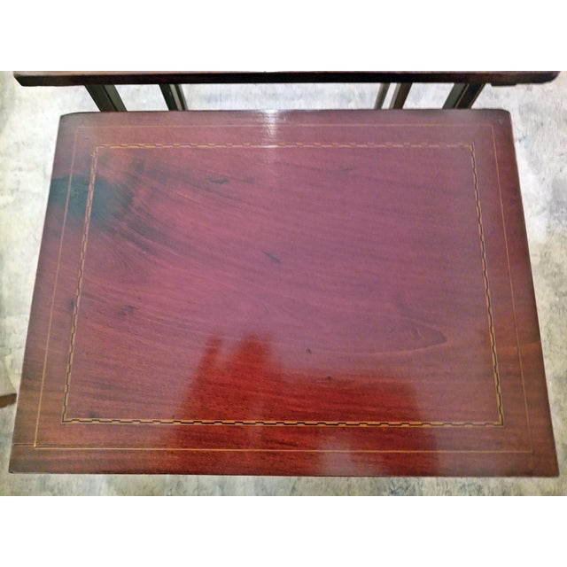 LOVELY Early 20C British Nest of 3 Graduating Mahogany and Inlaid Tables SET of 3 nest of tables……each one smaller than...