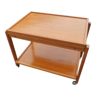 1960s Danish Modern Flip Top Teak Serving Cart / Table For Sale