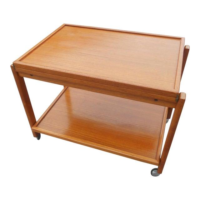 1960s Danish Modern Flip Top Teak Serving Cart / Table For Sale