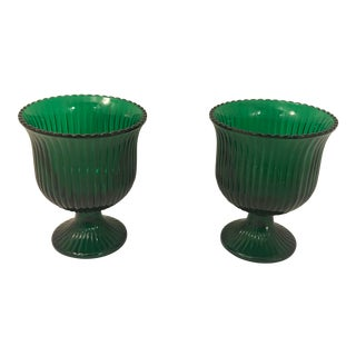 Vintage E.O. Brody Emerald Green Compotes - a Pair For Sale