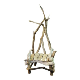 Hand Crafted Driftwood Throne Chair For Sale