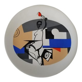 1990 Anne Herbst Postmodern Ceramic Plate For Sale