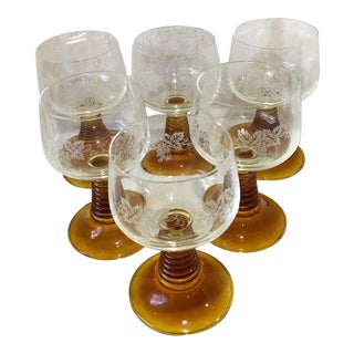 1970s Vintage Schott Zwiesel Etched Hand Blown Amber Roemers - Set of 6 For Sale
