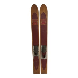 Vintage Wood Water Skis - Great for Cabin Decor For Sale