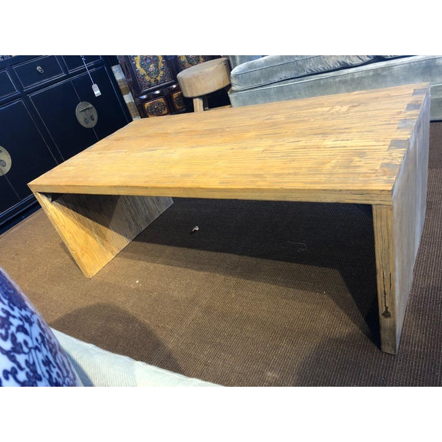 Washed Elm Wood Coffee Table For Sale In West Palm - Image 6 of 7