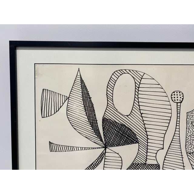 Mid-Century Modern 1969 Series III Pen-Ink Abstract Painting by Listed Artist Rene Marcel Gruslin For Sale - Image 4 of 12